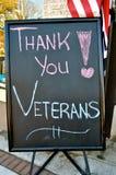 Dank u het Teken van Veteranen Royalty-vrije Stock Fotografie