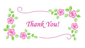 Dank u kaarden bloemen Stock Afbeelding