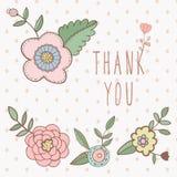 Dank u kaarden bloemen met tekst en bloemen Royalty-vrije Stock Fotografie