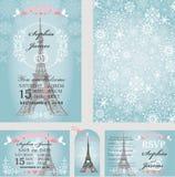 Dank u kaarden Eifeltoren, sneeuwvlokken parijs vector illustratie