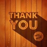 Dank u kaarden met typografie op een houten achtergrond. Stock Foto