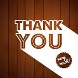 Dank u kaarden met typografie op een houten achtergrond. Royalty-vrije Stock Afbeelding