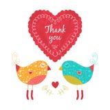 Dank u kaarden met vogels Royalty-vrije Stock Foto