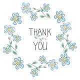 Dank u kaarden Modieus bloemenkader met tekst Royalty-vrije Stock Foto's