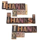 Dank u in letterzetseltype Stock Fotografie
