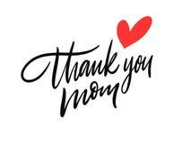 Dank u Mamma het van letters voorzien Hand getrokken vectorillustratie Ge?soleerdj op witte achtergrond royalty-vrije illustratie