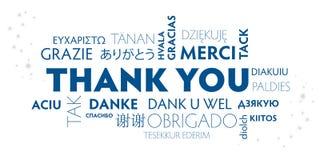 Dank u meertalige blauwe en witte prentbriefkaar royalty-vrije illustratie