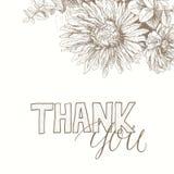 Dank u met de hand geschreven inschrijving met bloemenrug Royalty-vrije Stock Afbeeldingen