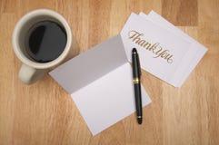Dank u nota nemen van & Koffie Stock Foto