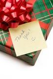 Dank u nota nemen van en gift Stock Fotografie