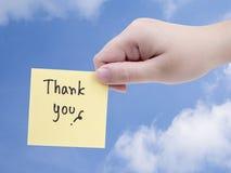 Dank u op blauwe hemel Royalty-vrije Stock Afbeeldingen