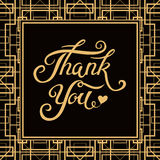 Dank u overhandigen het getrokken van letters voorzien met Art Deco-kader Stock Afbeelding