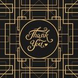 Dank u overhandigen het getrokken van letters voorzien met Art Deco-kader Royalty-vrije Stock Foto's