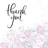 Dank u overhandigen van letters voorziende Groetkaart Moderne kalligrafie Vector illustratie Royalty-vrije Stock Foto's