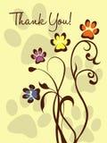 Dank u! Paw Flowers Stock Afbeeldingen