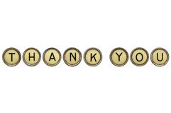 Dank u in schrijfmachinesleutels Royalty-vrije Stock Foto's