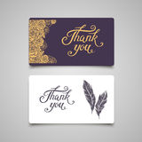 Dank u van letters voorziend kaartmalplaatje Stock Foto