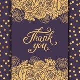 Dank u van letters voorziend kaartmalplaatje met bloemenelementen Stock Fotografie