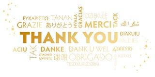 Dank u verwoorden wolken witte en gouden prentbriefkaar Royalty-vrije Stock Afbeeldingen