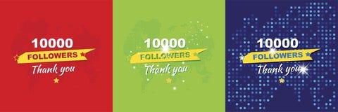 Dank u voor 10000 aanhangers Vastgestelde Groetkaarten ter ere van de viering Vlakke illustratie eps10 vector illustratie