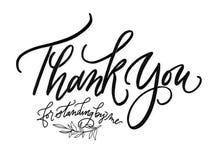 Dank u voor de status van door me het Zwart-witte Van letters voorzien vector illustratie