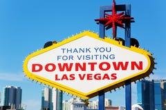 Dank u voor het bezoeken van teken het van de binnenstad van Las Vegas Stock Afbeeldingen