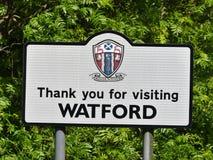 Dank u voor het bezoeken van Watford-verkeersteken royalty-vrije stock afbeelding