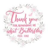 Dank u voor het eraan herinneren van me wat de vlinders als voelen Citaat over liefde en verhouding Valentijnskaartendag het zegg Royalty-vrije Stock Foto
