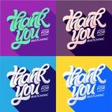 DANK U VOOR HET LETTEN VAN OP TYPOGRAFIE Reeks editable banners voor sociale media Het vlakke stijl van letters voorzien met lang royalty-vrije illustratie