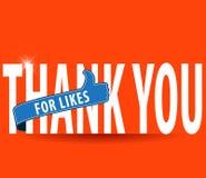 Dank u voor houdt van, omhoog ondertekent de vlakke typografie met duimen Stock Fotografie