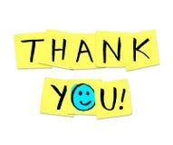 Dank u - Woorden op Gele Kleverige Nota's Stock Foto