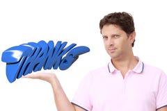 DANK ` van de mensenholding ` op zijn hand Stock Afbeelding