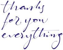 Dank voor u alles die, kalligrafie, typografie handlettering Stock Illustratie
