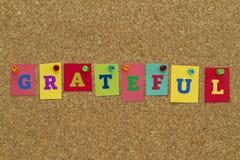 Dankbares Wort geschrieben auf bunte Anmerkungen Lizenzfreie Stockbilder