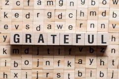 Dankbares Wortkonzept stockbild
