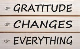 Dankbarkeit ändert alles lizenzfreie stockfotografie