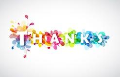 Dankcitaat met kleurrijke abstracte achtergronden Stock Afbeeldingen