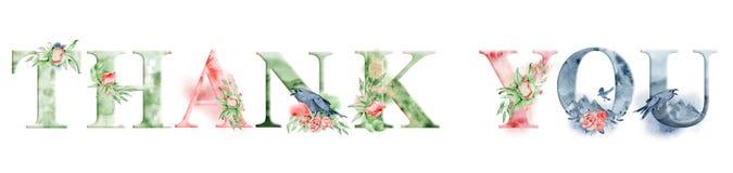 Danke Aquarellwortdesign mit Blumensträußen und Krone Hand gezeichnete Beschriftung, Typografieaufschrift Anspornungsaufkleber stock abbildung
