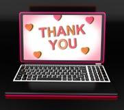 Danke auf Laptop-Show-Anerkennungs-Dank und Dank Lizenzfreies Stockfoto