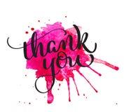 Danke, auf rotem Fleck des Aquarells zu simsen Hand gezeichnete Kalligraphiebeschriftung Vektorillustration EPS10 vektor abbildung
