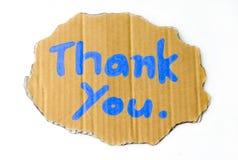 Danke Benennung auf Pappe stockbilder