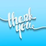 Danke Beschriftung Die geschriebene Hand danken Ihnen Plakat Moderne Hand Stockbild