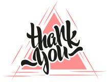 Danke Beschriftung Moderne Kalligraphie auf einem Dreieckhintergrund Stockbild