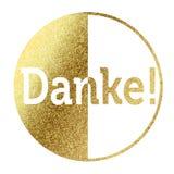 Danke!. Danke in bright gold stock illustration