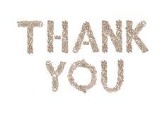 Danke geschrieben mit kleinen Würfeln Stockbilder