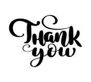 Danke, gezeichneten Text zu übergeben Modisches Handbeschriftungszitat, Modegraphiken, Weinlesekunstdruck für Poster und Gruß vektor abbildung