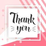 Danke handgeschriebene Aufschrift Hand gezeichnete Beschriftung Danke Kalligraphie Danke zu kardieren Stilvolle Modeillustration Stockfoto