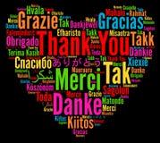 Danke Illustration in den verschiedenen Sprachen stockfotos