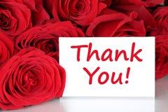 Danke, mit Blumen der roten Rosen zu kardieren Lizenzfreie Stockfotos