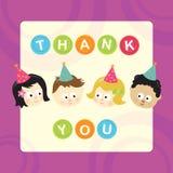 Danke mit Kindern (Mischnationalitäten) Lizenzfreies Stockfoto
